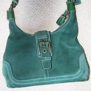 Coach Green Suede leather hobo purse